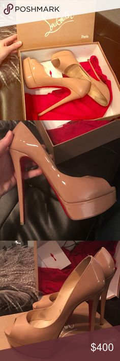 Lady Peep Toe Pumps Beautiful and classic CL Lady Peep Toe Pumps in nude! Used once. They are a half size too small for me so no use keeping them around. Beautiful shoes that get a lot of attention and soles can be refinished. Christian Louboutin Shoes Heels