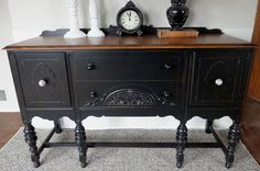 Beautifully done. I love the wood on the top. From: {createinspire}: {another} Black Buffet Refurbished Furniture, Repurposed Furniture, Rustic Furniture, Furniture Makeover, Vintage Furniture, Diy Furniture, Inexpensive Furniture, Painting Furniture, Kitchen Furniture