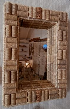 Mirror framed in 3d with upcycled wine corks