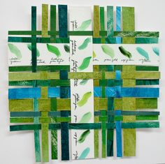 Green Palette Paper Weaving-  Color Chart Palette- Abstract Woven Art- Turquoise Emerald Lime. $44.00, via Etsy.