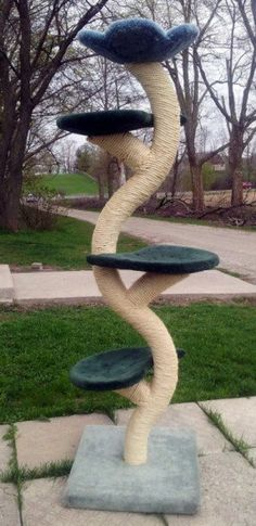 """The """"Beanstalk"""" Cat Tree * Compact design for smaller spaces, needing a space no wider than 24""""  in any direction. It is 7 ft tall with a flower top for the cat to sleep in.  *The trunk is solid wood for great strength. The very best 3/8""""hardest wearing r Nine Cat, Cat Scratching Tree, Scratching Post, Teacup Cats, Cat Climbing Tree, Diy Cat Tree, Cat Activity, Cat Playground, Cat Condo"""