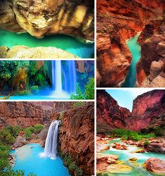 Havasu Falls Arizona AZ Grand Canyon Havapai Nation Colorado Plateau River sandstone slickrock red rock hike hiking waterfall waterfalls pools