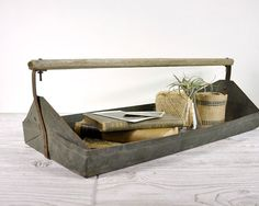 Vintage Industrial Metal Tray / Berry Carrier / Industrial Decor