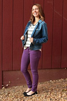 Papermoon Farmingdale Embroidery Detail V-Neck Knit Top-- Love the top and the purple pants
