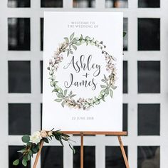 Floral Wedding Welcome Sign, Printable Wedding Welcome, Modern Wedding Sign, Botanical Wedding Sign, Printable Invitation, TEMPLETT, May