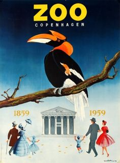 Copenhagen Zoo Great Hornbill 1959 - original vintage poster by Meilstrup listed on AntikBar.co.uk #ZooLoversDay