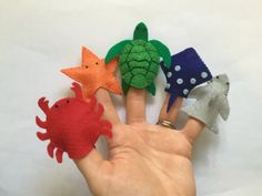 Go on a deep sea adventure with these adorable ocean creature finger puppets! This set* of 5 puppets are hand-sewn original creations made with eco-friendly felt and thread!  *Please allow for slight variation between sets as these are handmade items and will not be exactly the same.