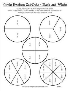 This version of my circle fraction cut-outs comes in black and white (colors available, too). Use as visual fraction models for circular shaped objects. Math Concepts, Teaching Music, Kindergarten Worksheets, Black And White Colour, Sight Words, Fractions, Cut Outs, Third Grade, School