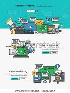Modern Flat line design concept of Online Marketing,Digital Marketing,Video Marketing and Social Network. Flat line design for website element and Web Banner.