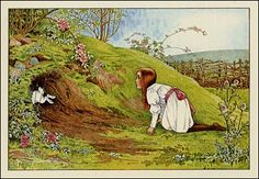 alice-Looking down the rabbit hole. Illustration from Alice's Adventures in Wonderland by Lewis Carroll; Lewis Carroll, Le Terrier, Alice Rabbit, Dear Students, Go Ask Alice, Were All Mad Here, Adventures In Wonderland, Through The Looking Glass, Love Pet
