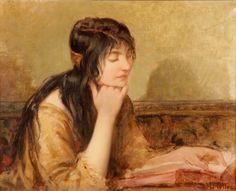 """Lote: 35017062. MOTTEZ, Henri-Paul (Londres, 1858 - ?). """"Joven leyendo"""". Óleo sobre lienzo. Firmado en el ángulo inferior derecho. Medidas: 33 x 41 cm; 48 x 56 cm (marco)."""
