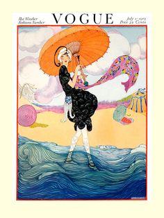 Girl Lady Beach Umbrella Vogue Magazine Cover 1919 Vintage Poster Repro Free s H | eBay