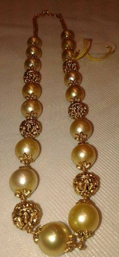 South sea pearls chain with nakshi balls.