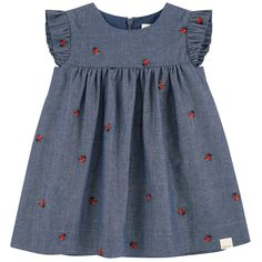 Cotton chambray Voile lining High waist dress Flared hem Crew neck Short sleeves Gathered waistband Invisible zipper at the back Embroideries Brand label on the front - € Baby Girl Dress Design, Little Girl Dress Patterns, Girls Frock Design, Kids Frocks Design, Baby Frocks Designs, Baby Girl Dress Patterns, Kids Dress Wear, Kids Gown, Dresses Kids Girl