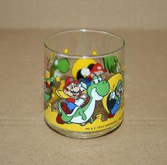 1993 Nintendo Super Mario World Yoshi Luigi Very Rare Vintage Glass