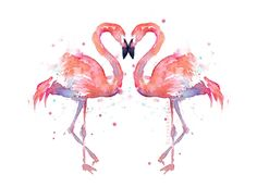 Flamingo Love Watercolor Painting Art Print Giclee Bird Animal Wall Art Home Decor Tropical Two Pink Flamingos by OlechkaDesign on Etsy