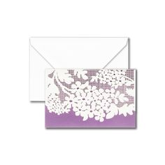 Laser Cut Jasmine Note: Presented with the most enticing texture, these notes feature a soft floral design, intricately laser cut atop romantic purple. Sure to please the correspondent who appreciates a hint of vintage.