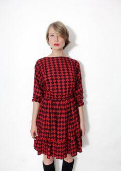 Vintage dress / red and black 60's Harlequin dress / by nemres, $56.00