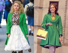 Carrie Bradshaw wears Blair Waldorf's green Nanette Lepore coat (as seen on Gossip Girl!) with a leopard print top and lace skirt