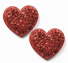 Two Red Glitter Hearts with Satin backing and padded insides.