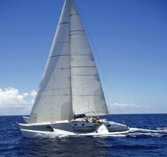 Cruising trimarans like this one have much less accommodation than a catamaran, but are usually considerably quicker.