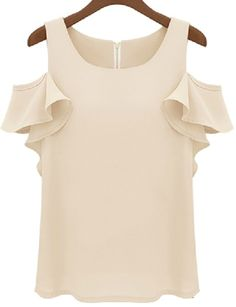 Nude Off the Shoulder Ruffle Chiffon Blouse