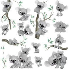 Details about Solar Swinging Koala Koalas with tree - - Koala Nursery, Owl Nursery Decor, Room Decor, Jungle Nursery, Animal Room, Coala Tattoo, Illustration Koala, Animal Drawings, Cute Drawings