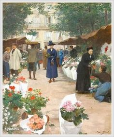 Victor-Gabriel Gilbert (French, 1847-1933) «The Flower Market»