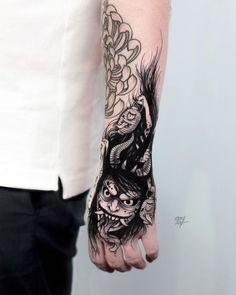 cool demon tattoo idea by @ooqza