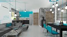 Kék részletek a konyha-nappali-étkezőben Conference Room, Modern, Table, Furniture, Design, Home Decor, Trendy Tree, Decoration Home, Room Decor