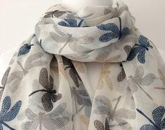Ladies Pashmina Scarf Royal Blue Dragon Fly Print New Season Arrival Shawl