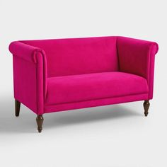 Boasting rolled shelter arms and sumptuous velvet upholstery in a fuchsia hue, our roomy loveseat is a fresh take on a cozy classic that& certain to brighten your seating arrangement. Furniture Sofa Set, Living Room Decor Furniture, Velvet Furniture, Antique Furniture, Affordable Home Decor, Affordable Furniture, Affordable Sofas, World Market Furniture, Cheap Couch