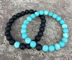 Distance/Friendship Bracelets - Turquoise and Black - Galaxy Accessories Cute Bracelets, Bracelets For Men, Beaded Bracelets, Handmade Leather Jewelry, Handmade Bracelets, Long Distance Bracelets, Matching Couple Bracelets, Lava Bracelet, Friendship Bracelets