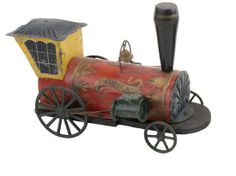"""19th-century Hull & Stafford """"America"""" clockwork locomotive, painted and stenciled tin and wood"""