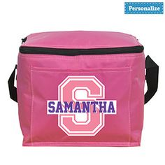 "Product # DC40271 - A perfect sized cooler for school, field trips or family road trips! Colourful soft-sided cooler has a zippered closure and front slash pocket. And it won't be mistaken for anyone else's with child's name printed on the front! Personalization: Name, up to 10 characters. 8-1/2"" L x 7"" H x 6-1/4"" W   $9.98"