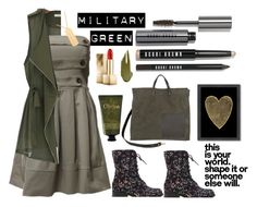 """""""Military Green"""" by annbaker ❤ liked on Polyvore featuring Americanflat, Kismet, Burberry, Jennifer Fisher, Bobbi Brown Cosmetics, Olivina, NARS Cosmetics and Clare V."""