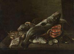 Isaac van Duynen | Still Life with Fish, Isaac van Duynen, 1645 - 1681 | Stilleven met vissen. Op een stenen plint liggen deels in een mand: kabeljauwen, moten zalm, oesters en mosselen, een krab en een paar platvissen.