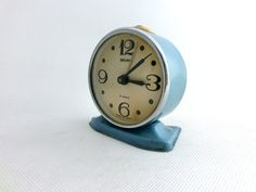 Vintage blue alarm clock from Russia by ArtmaVintage on Etsy, $32.00