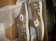 NIB Womens Size 7 Sperry Top-Sider Koifish Animal Tan Leopard Boat Shoes New $90