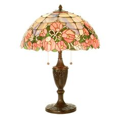 Classic table lamp with an urn-style base and cabbage rose-detailed glass shade.   Product: Table lampConstruction M...