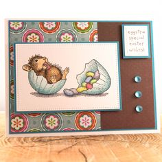 Handmade House Mouse Easter Card, Easter Egg Card, Cute Mouse Easter Card, Happy Easter Card, OOAK Easter Card, Unique Easter Card by TrioCards on Etsy