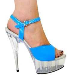 Sexy Women Shoes Blue Neon Patent Leather Clear Exotic Dancer Size 6 7 8 9 10 #Karo #OpenToe
