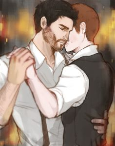 """banryeo: """" slow dance scene from I'll Be Seeing You by thepsychicclam :D commission for unashamed-fangirl i absolutely love the fic, and although i was very nervous it was amazing to draw for it,..."""