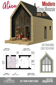 Modern small house floor plans for two. Small house floor plans are the most sought-after comparing with other home sizes. If you have a limited budget and are skilled… Small Cabin Plans, Small House Floor Plans, Small Cabins, Building Costs, Building A Tiny House, Building Ideas, A Frame Cabin, A Frame House, Modern Tiny House