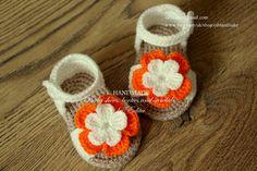 Crochet baby sandals baby girl booties shoes cream por editaedituke