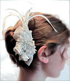 Champagne Bridal Hairpiece Ecru Silk Rose  OOAK by Marcellefinery, $46.00