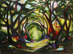 "Saatchi Online Artist: Charlotte Hutson Wrenn; Acrylic, 2012, Painting ""Forest Path"""