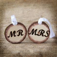 Mr. and Mrs. Wood Charms - Wood Burned Tree Branch Charms - Rustic Eco-Friendly Wood Gift Tags