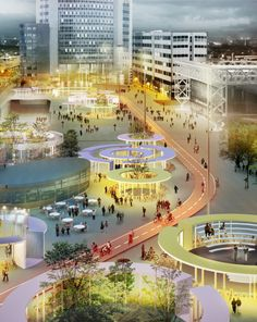 The study for a new Sloterdijk Station Square suggests solving the bicycle parking problem, the introduction of new program, and the addition of green in one simple gesture. Arranging parking places for 1500 bikes in. Urban Landscape, Landscape Design, Landscape Plans, Landscape Architecture, Architecture Design, Plaza Design, Bicycle Illustration, Sport Park, Bicycle Painting