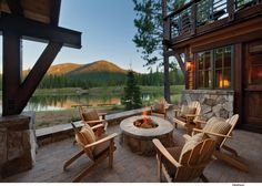Country Patio with exterior stone floors, Casement, Glass panel door, Deck Railing, Fire pit Outdoor Cabana, Outdoor Fire, Outdoor Living, Outdoor Patios, Modern Mountain Home, Mountain House Plans, Mountain Homes, Mountain Living, Mountain View
